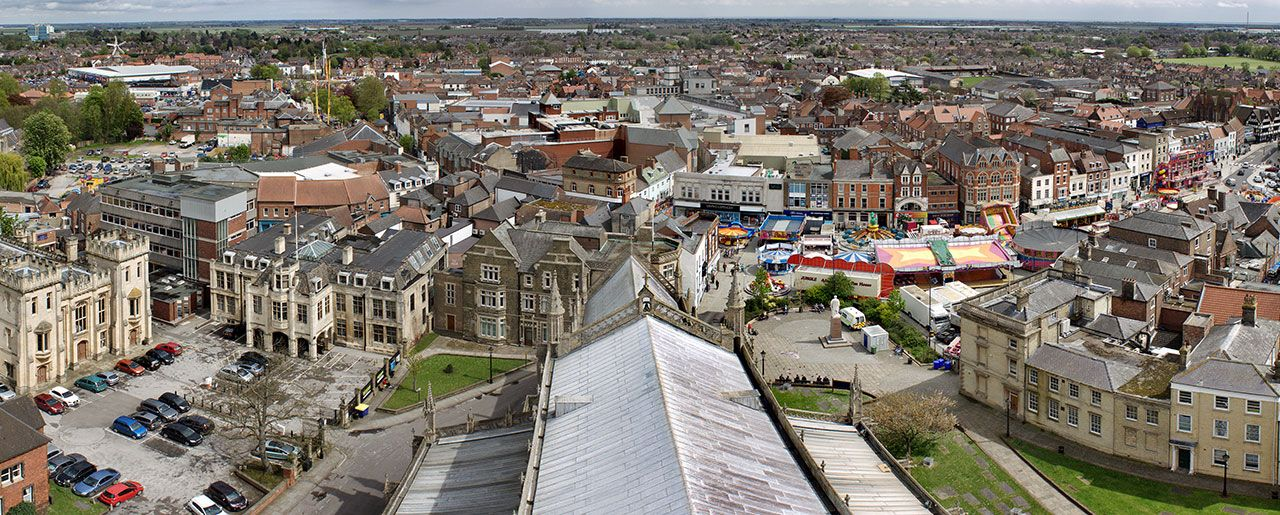 The market town of Boston viewed from St. Botoph's church, locally known as Boston Stump