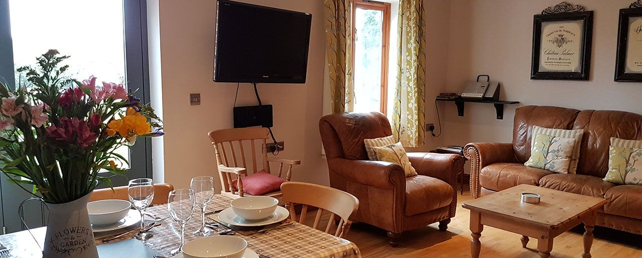 Accommodation for wheelchair users with an open plan lounge, ktchen and  dining area.